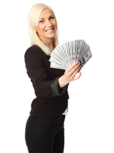 Blond woman fanning out money