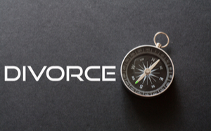 the words Divorce with a compass next to it.